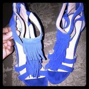 ROYAL BLUE STEVE Madden Fringe Heels